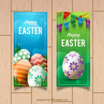 Free vector Easter banners with colorful eggs and garlands #11533