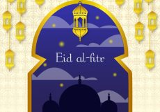Free vector Eid al-fitr background with golden window and lanterns #4722