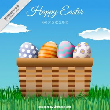 Free vector Fantastic background with basket full of easter eggs #11575