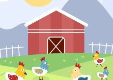 Free vector Farm background with chickens #9882