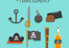 Free vector Flat assortment of pirate elements #6838