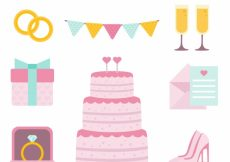 Free vector Flat collection of great wedding items #8912