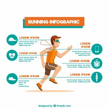 Free vector Flat infographic template with man running and different options #5063