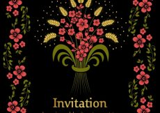 Free vector Flowers on black background wedding invitación #9801