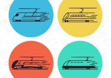 Free vector Four colored circles with abstract trains #4597