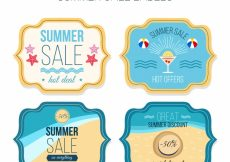 Free vector Four retro summer sale stickers #4854