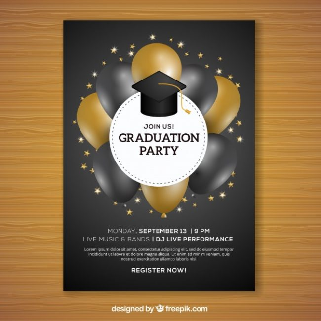 graduation brochure templates - free vector graduation party brochure with black and gold