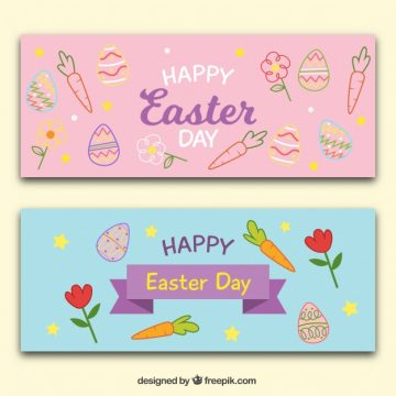 Free vector Great banners with colorful doodles for easter #11569
