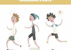 Free vector Great set of three people running #4943
