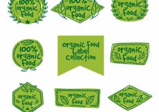 Free vector Green organic food labels in hand-drawn style #8055