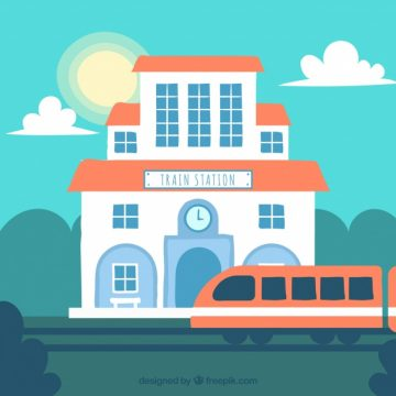Free vector Hand-drawn background of colored train station #4627
