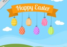Free vector Happy easter background with colorful eggs #10810