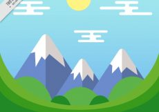 Free vector Landscape background with snowy mountains in flat design #11141