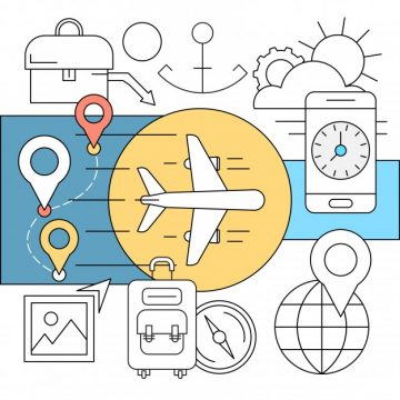 Free vector Linear transport and travel icons #6228