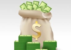 Free vector Money bag background with green banknotes #8019
