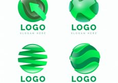 Free vector Pack of abstract circular green logos #4760