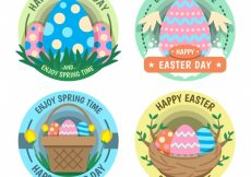 Free vector Pack of beautiful easter egg stickers #11235