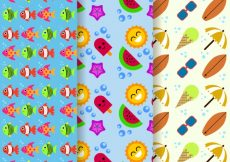 Free vector Pack of decorative and cheerful summer patterns #9373