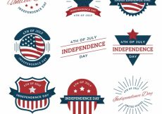 Free vector Pack of decorative independence day labels with great designs #8738