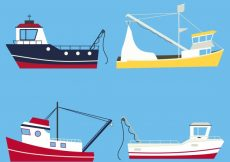 Free vector Pack of four fishing boats in flat design #4347
