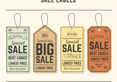 Free vector Pack of four retro sale tags #11651