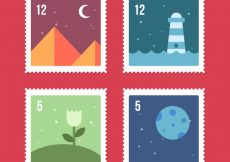 Free vector Pack of four stamps with landscapes in flat design #7020