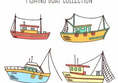 Free vector Pack of hand-drawn fishing boats #4349