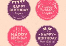Free vector Pack of happy birthday vintage circular stickers #10766