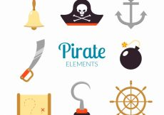Free vector Pack of pirate elements in flat design #8624