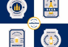 Free vector Pack of vintage beer stickers in flat design #9470