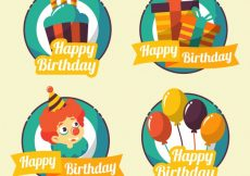 Free vector Pack of vintage birthday stickers with elements #10772