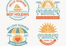 Free vector Pack of vintage summer stickers #4647