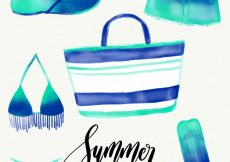 Free vector Pack of watercolor summer elements #4253
