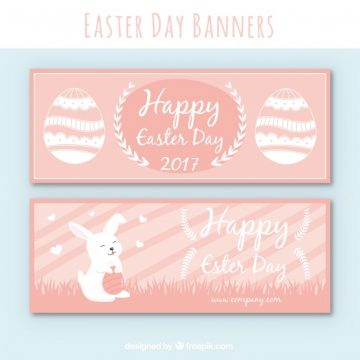 Free vector Pink easter banners with rabbit and eggs #11433