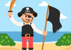 Free vector Pirate background with flag #9774