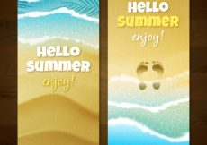 Free vector Realistic beach banners with footprints on the sand #4790