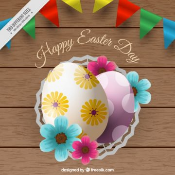 Free vector Realistic wooden background with easter eggs #11577