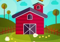 Free vector Red barn background on farm in flat design #6124