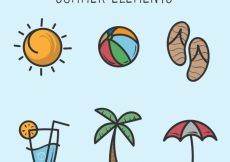 Free vector Selection of hand-drawn summer elements #4257