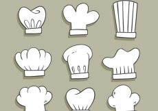 Free vector Selection of nine hand-drawn chef hats #9708