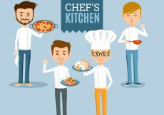 Free vector Set of four smiling cooks #9552