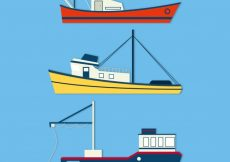 Free vector Set of three fishing boats in flat design #4346