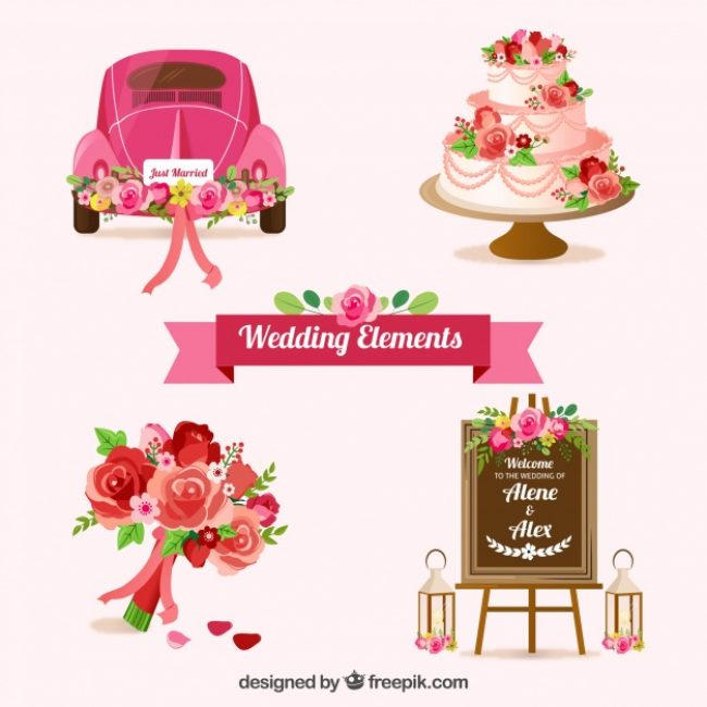 Free vector Set of wedding elements with beautiful flowers #9185