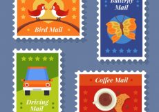 Free vector Several colorful post stamps #8626