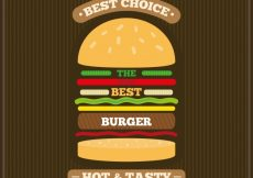 Free vector Striped background with burger in flat design #9620