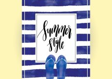 Free vector Striped summer card with flip flops #3930