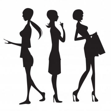 Free vector Three fashion girls silhouettes #7687