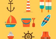 Free vector Variety of flat summer objects #8548