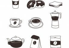 Free vector Variety of hand-drawn cafe items #11339