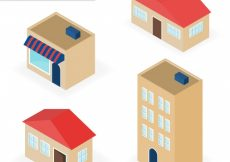 Free vector Variety of isometric houses #11361